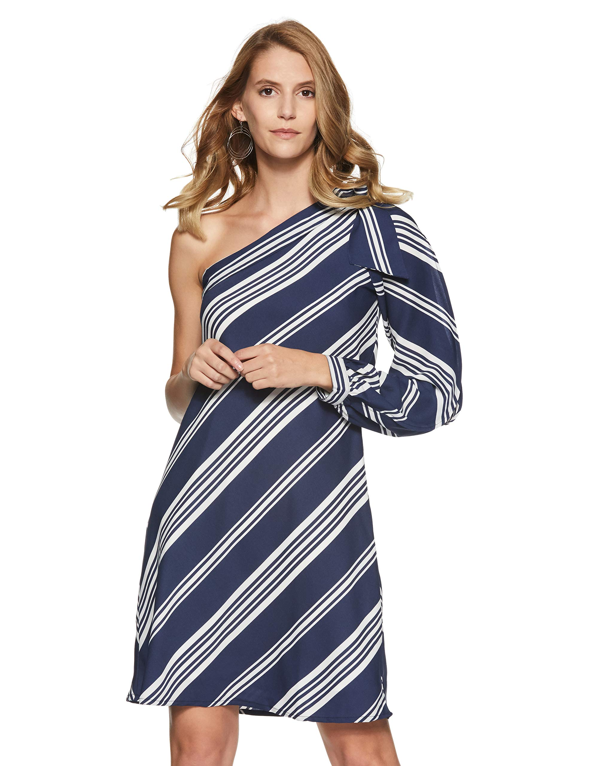 Stalk Buy Love Women's Georgette Striped Jenia One Shoulder Knotted Dress
