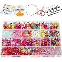 Wafly Coffret de Perles Enfants Fille,550 PCS Kit Fabrication de Bijoux Enfant, Perles Multicolores en Plastique avec…