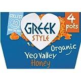 Yeo Valley Organic Greek Style Yogurt with Honey, 4x100g