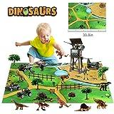 EARSOON Militär Dinosaurier Spielzeug Figur mit Spielmatte, abnehmbar und montiert, pädagogisches Spielset, um eine realistis