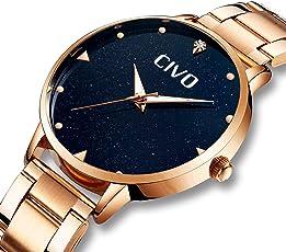 CIVO Damen Uhren Wasserdicht Edelstahl Mesh Analoge Armbanduhren für Frauen Mädchen Jugendliche Mode Kleid Elegant Luxus Coole Quarzwerk Uhr mit Schwarz Marmor-Zifferblatt