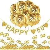 Oblique Unique® 50° compleanno nozze oro festa festa set decorazione – Happy 50 ghirlande + palloncini numero 50 + coriandoli