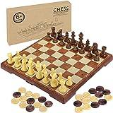 Fixget 2-i-1 schackset – 30,48 cm x 30,54 cm trä som schack- och schackspel med portabel hopfällbar inredning förvaring resor