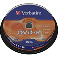 Verbatim DVD-R Discs with AZO Protection 10 Spindle Pack, Bulk Pack 10 x DVD-R Blank Discs with Hard Coat Scratch Guard and AZO Protection Against UV, 16x Speed, 4.7 GB