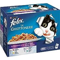 Purina Felix Le Ghiottonerie Umido Gatto Le Preferite con Manzo/Pollo/Salmone e con Tonno, 60 Buste da 100 g Ciascuna (6…