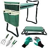 Trädgårdsknävare och säte med påse för verktygsväskor - Skyddar dina knän, kläder från smuts och gräsfläckar, bärbar lättvikt