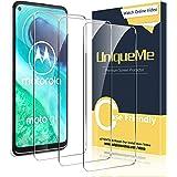 [3-pack] UniqueMe skärmskydd för Motorola Moto G8 härdat glas, skärmskyddsfilm med anti-repor, bubbelfri anti-fingeravtryck,