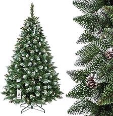 FairyTrees künstlicher Weihnachtsbaum Kiefer, Natur-Weiss beschneit, Material PVC, Echte Tannenzapfen, inkl. Metallständer, FT04