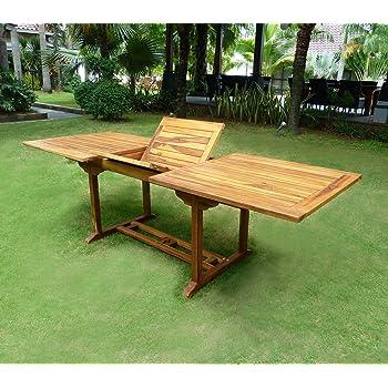 010c1d2b61b181 Table de jardin XXL en teck huilé - double rallonge papillon 200-300 ...