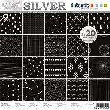 Artemio Set papiers 40 pages ARGENT Noir Foil – 30x30 cm,