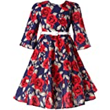 Bonny Billy Girls Classy Vintage Floral Swing Kids Party Dresses 8-9 Years C-Flower