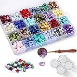Cire à Cacheter, Comius Sharp 600 Pièces Perles de cire à Cacheter Octogonales avec 1 Cuillère et 4 Bougies Blanches pour Env