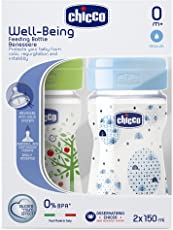 Chicco 150ml Bipack Well Being Feeding Bottle (Blue/Green)