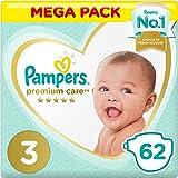Pampers Premium Care, Size 3, Midi, 6-10 kg, Mega Pack, 62 Diapers