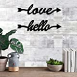 Art Street Love & Hello MDF Plaque Painted Cutout Ready to Hang for Wall Décor.
