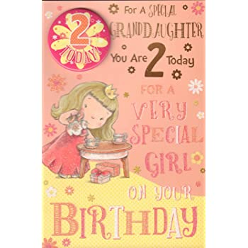 Granddaughter 2nd Birthday Card With Badge