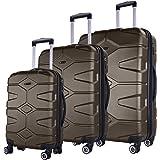 SHAIK SERIE RAZZER SH002 3-tlg. DESIGN PMI Hartschalen Kofferset, Trolley, Koffer, Reisekoffer, 4 Doppelrollen, 25% mehr Volumen durch Dehnfalte (Anthrazit, Set)