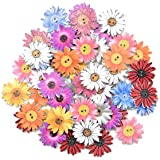 Botones de Madera 50 Piezas Botones Madera de Crisantemo Coloridos Aleatorio 2 Agujeros Crisantemo Botones para Decoración Co