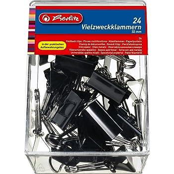 Herlitz 10411155 Vielzweckklammern 24 Stück, 32mm, Farbe schwarz