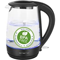 Emerio Glas Wasserkocher | 1.7L Volumen | BPA frei | aus bestem Borosilikatglas | 2200 Watt | blaue LED Innenbeleuchtung…