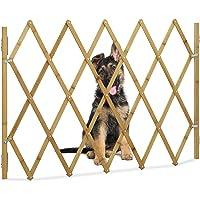 Relaxdays Cancelletto di Sicurezza, Griglia Protettiva per Porte & Scale, L: max. 116,5 cm, H: 82,5 cm, Naturale