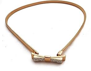 Vritraz New Fashion Style Gold Plated Black Kamarband Metal Waist Belt Waistband BlackBow