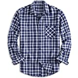 PIZZ ANNU Men's Regular-fit Plaid Flannel Button-Down Long Sleeve Shirt