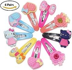 6 Pairs Baby Plastic Multi Color & Fancy Design TIK Tak Hair Pins (Random Design)
