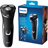 Philips S1332/41 Rasoio Series 1000, Testine Flex 4D, Lame PowerCut, Apertura OneTouch, Uso Cordless e Corded, 45 minuti di a