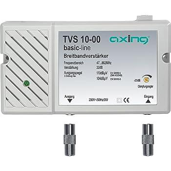 Axing TVS 10-00 Amplificatore Banda Larga per digitale terrestre tv e radio (22 dB, 47-862 MHz)