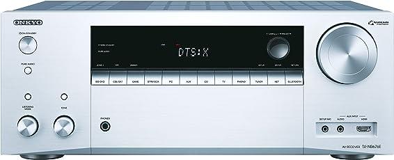Onkyo 7.2 Kanal AV Receiver, TX-NR676E-S, 165 W/Kanal, Multiroom, Dolby Atmos/DTS:X, WLAN, Bluetooth, Streaming, Musik Apps (Spotify, Tidal, Deezer), Radio, Front HDMI/Audio in, Silber, 1500452
