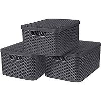 CURVER Lot de 3 Boîtes avec Couvercle - 3 Caisses (3*18L) en Plastique avec un Design Rotin Tressé pour Salle de Bain…