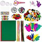 MengH-SHOP Enfants Kits d'artisanat Bricolage Set de Loisir Creatif Inclure Tiges de Chenille Pompons Yeux Mobiles Plume Feut