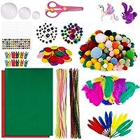 MengH-SHOP Enfants Kits d'artisanat Bricolage Set de Loisir Creatif Inclure Tiges de Chenille Pompons Yeux Mobiles Plume…