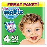 Molfix 3D Bebek Bezi Maxi 4 Beden, Fırsat Paketi 60 Adet