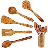 Ustensiles en bois d'acacia Set 6 Pcs by StarBlue - Spatules anti-rayures, durables et naturelles pour ustensiles de cuisine