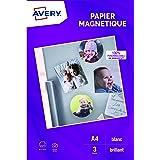 AVERY - Pochette de 3 feuilles de papier magnétique, Qualité photo, Personnalisables et imprimables, Format A4, Impression je
