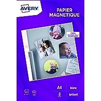 AVERY - Pochette de 3 feuilles de papier magnétique, Qualité photo, Personnalisables et imprimables, Format A4…