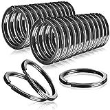 COM-FOUR® 25x sleutelhangers van ijzer, reeks metalen ringhangers, plat en mat zwart voor de sleutelring, Ø 25 mm (025 stuks