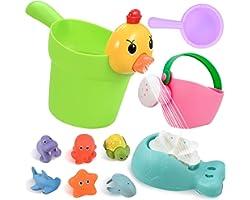 GOLDGE 10pz Juguetes Bañera para Bebés, Juguetes de Natación del Flotante Juegos de Agua Orgsnizador Baño Los Niños Niña Jugu