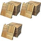 Deuba 33x Holzfliesen Quattro Mosaik | FSC®-zertifiziertes Akazienholz | 3m² Fliese 30x30 cm Stecksystem Mosaik | Zuschneidbar Terrasse Balkon