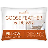 Snuggledown Goose Feather & Down White Pillow Medium Support Designed for Back and Side Sleepers Bed Pillows