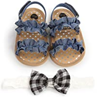 MAHUAOYIXI Bambina Completi 2 Pezzi Sandali Neonate + Fascia Fiori Scarpine Bimba Antiscivolo Elegante Scarpe Estive…