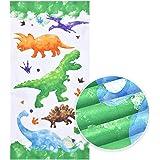 Serviette de Plage Dinosaure - 76 × 152cm Microfibre Serviettes de Bain Enfants légère Absorption Serviettes de Randonnée Nat
