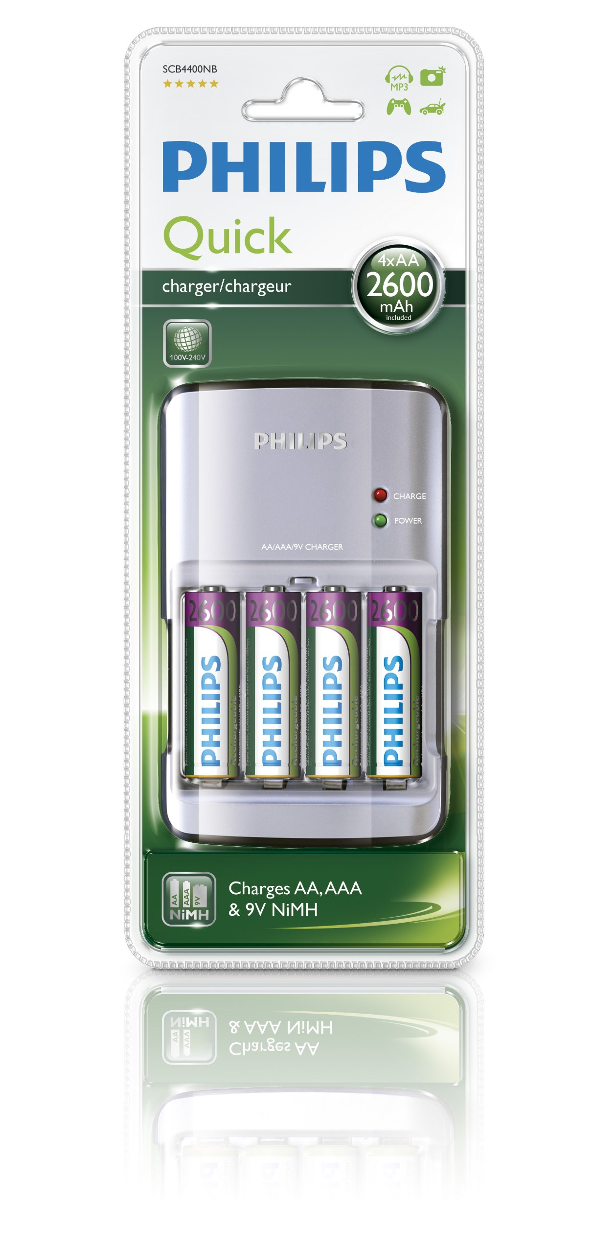 Philips SCB4400NB/12 MultiLife Caricabatterie, 2700 mAh, AA, Bianco