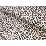 BROWN LEOPARD Double Sided Supersoft Cuddlesoft Fleece Fabric Material