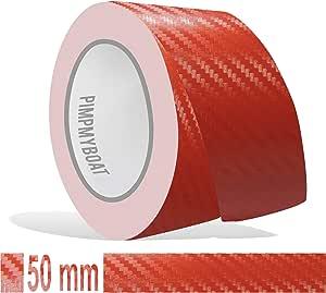 Siviwonder Zierstreifen Rot Carbon In 50 Mm Breite Und 10 M Länge Folie Für Auto Aufkleber Boot Jetski Modellbau Klebeband Dekorstreifen Auto