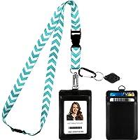 Chevron in Tiffany Blue Print Lanyard Strap Neck avec porte-badge en cuir PU avec porte-badge avec 3 poches pour carte…