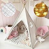 Tenda Bambina Teepee per Bambini in Tela di Cotone con tappetino imbottito & leggera & custodia per il trasporto Bianco sporc