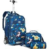 Wenlia Kids Rolling Backpack, 3 in 1 Wheeled Backpack Set Trolley School Bag with Lunch Shoulder Bag Pencil Case Multifunctio